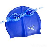 Набор 2 в 1 для плавания Bambi D25718 (очки: M (8+) 55 см, шапочка 22 х 19 см), синий