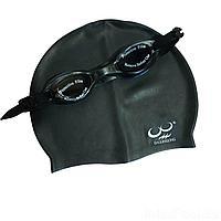 Набор 2 в 1 для плавания Bambi D25718 (очки: M (8+) 55 см, шапочка 22 х 19 см), черный