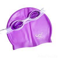 Набор 2 в 1 для плавания Bambi D25718 (очки: размер M, (6+), обхват головы ≈ 52 см, шапочка 22 х 19 см), фиолетовый