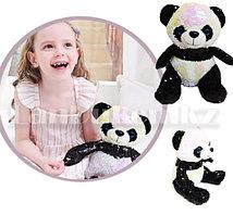 Мягкая игрушка медвежонок Панда в черно-белых пайетках 28 см