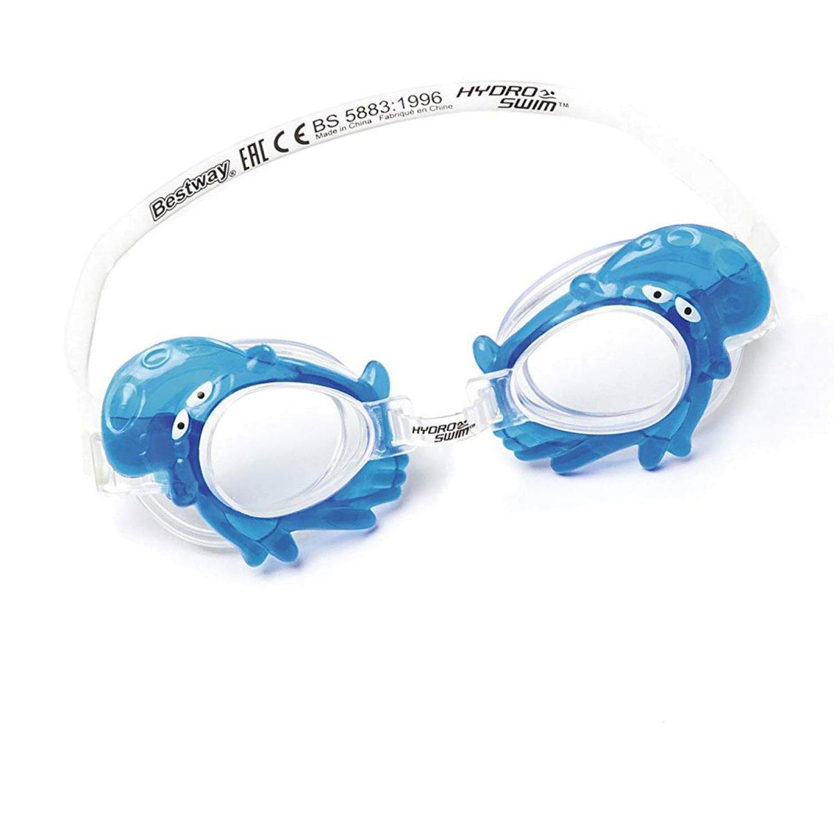 Детские очки для плавания Bestway 21047, размер S, (3+), обхват головы ≈ 50 см, голубые