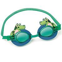 Детские очки для плавания Bestway 21080 Крокодил, размер S, (3+), обхват головы ≈ 50 см