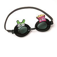 Детские очки для плавания Bestway 21080, размер S, (3+), обхват головы ≈ 50 см, черные