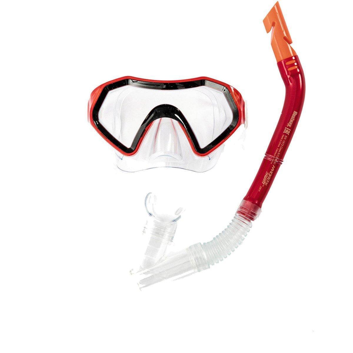 Набор 2 в 1 для ныряния Bestway 24025 (маска: размер M, (6+), обхват головы ≈ 52 см, трубка), красный