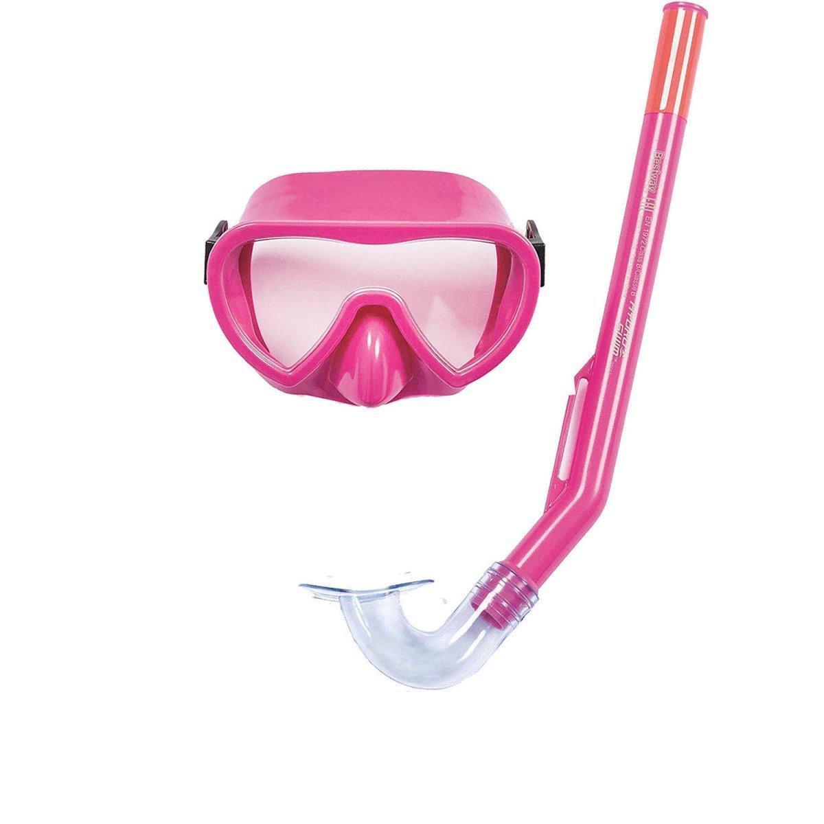 Набор 2 в 1 для ныряния Bestway 24036 (маска: размер S, (3+), обхват головы ≈ 50 см, трубка), розовый