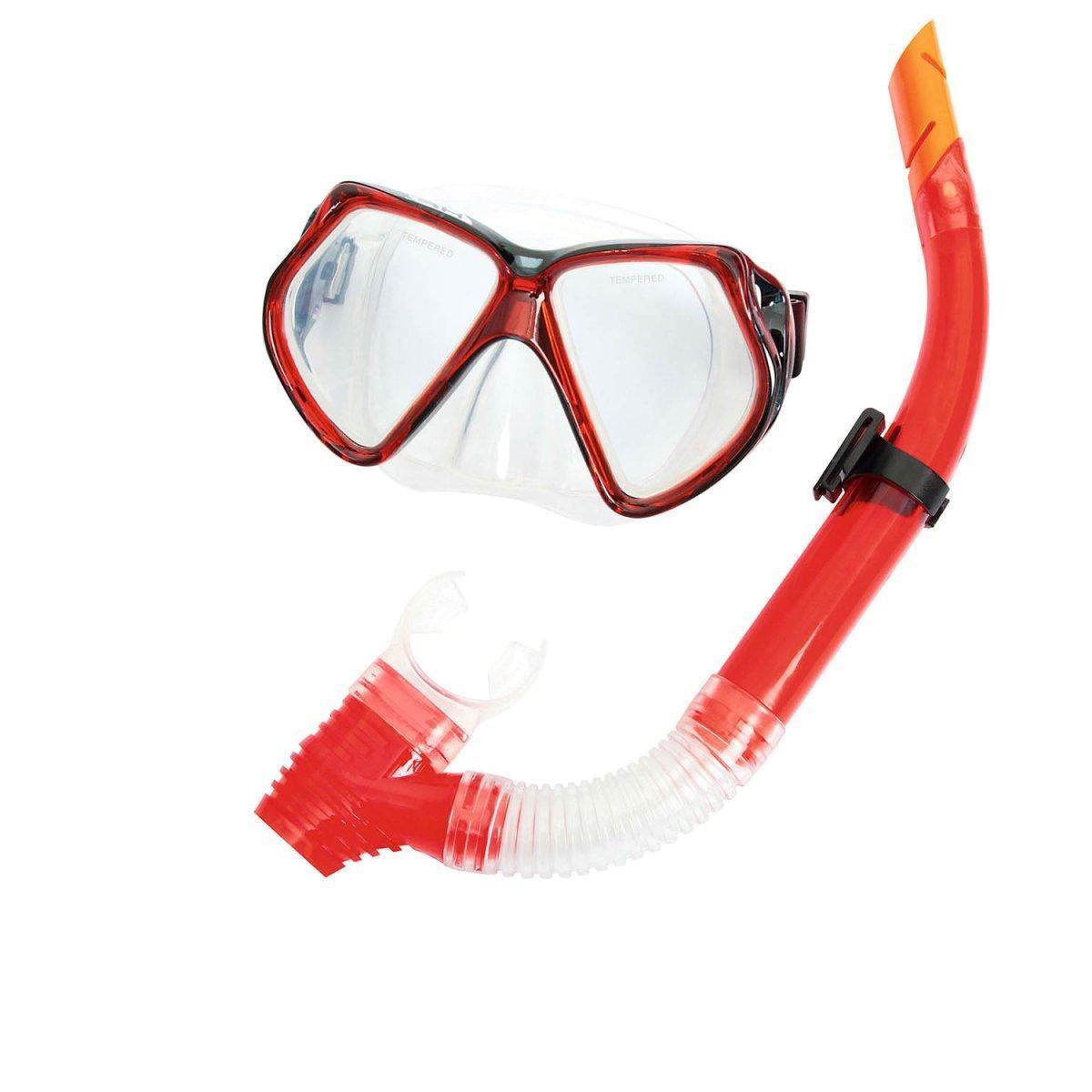 Набор 2 в 1 для плавания Bestway 24005 (маска: размер XXL, (14+), обхват головы ≈ 59 см, трубка), красный
