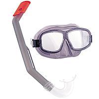 Набор 2 в 1 для плавания Bestway 24016 (маска: M (8+) 55 см, трубка), серая, фото 1