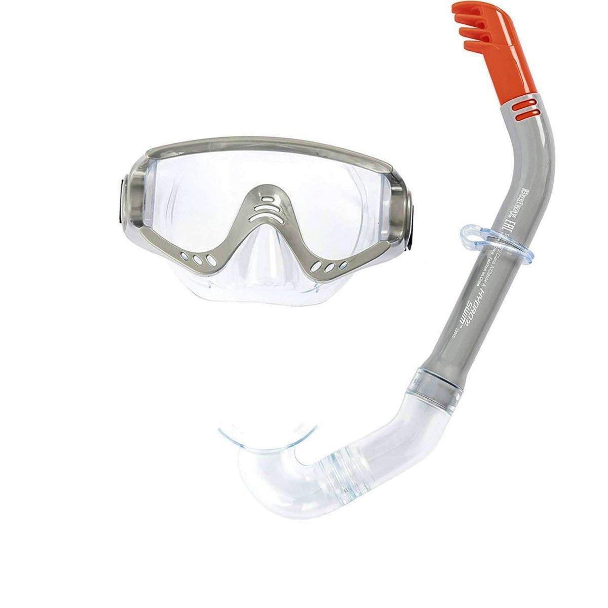 Набор 2 в 1 для плавания Bestway 24020 (маска: размер XL, (10+), обхват головы ≈ 56 см, трубка), серый