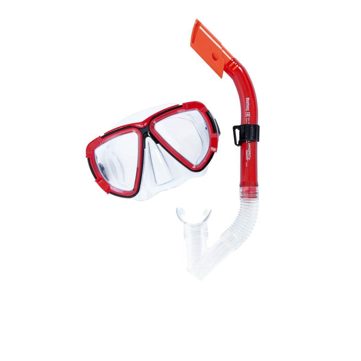 Набор 2 в 1 для плавания Bestway 24029 (маска: размер XL, (10+), обхват головы ≈ 56 см, трубка), красный