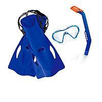 Набор 3 в 1 для ныряния Bestway 25025 (маска: размер M, (6+), обхват головы 52 см, трубка, ласты: размер L, 37 (EU), под стопу 24 см), голубой