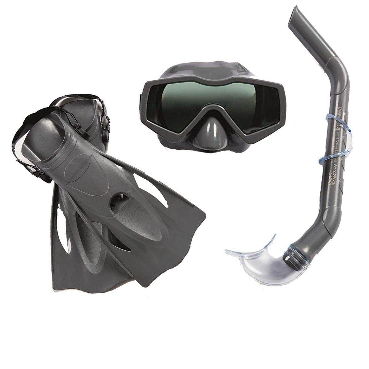 Набор 3 в 1 для ныряния Bestway 25031 (маска: размер XL, (10+), обхват головы ≈ 56 см, трубка, ласты: размер XXL, 42 (EU), под стопу ≈ 26.5 см), серый