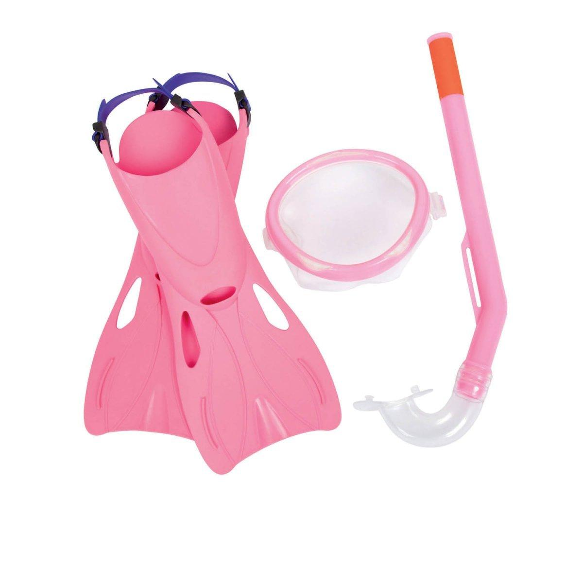 Набор 3 в 1 для плавания Bestway 25018 (маска: размер S, (3+), обхват головы ≈ 50 см, трубка, ласты: размер S, 35 (EU), под стопу ≈ 15-18 см), розовый