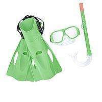 Набор 3 в 1 для плавания Bestway 25019 (маска: размер M, (6+), обхват головы 52 см, трубка, ласты: размер L, 37 (EU), под стопу 24 см), зеленый