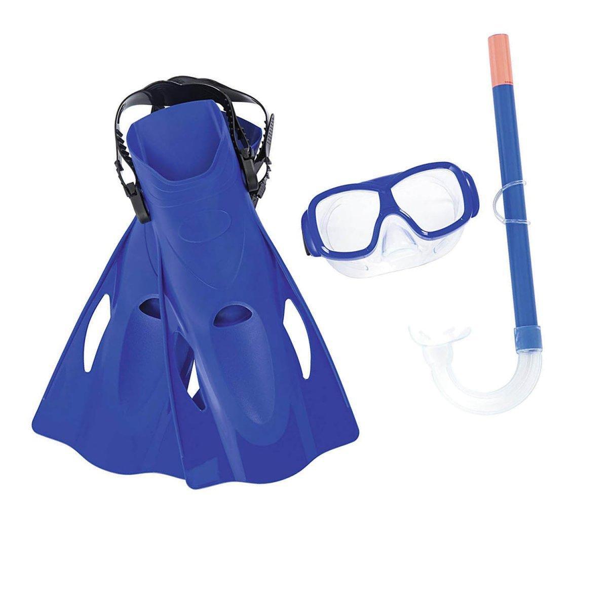 Набор 3 в 1 для плавания Bestway 25019 (маска: размер M, (6+), обхват головы ≈ 52 см, трубка, ласты: размер L, 37 (EU), под стопу ≈ 24 см), синий