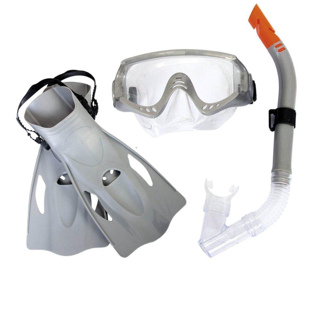 Набор 3 в 1 для плавания Bestway 25020 (маска: размер XL, (10+), обхват головы ≈ 56 см, трубка, ласты: размер XXL, 42 (EU), под стопу ≈ 26.5 см),