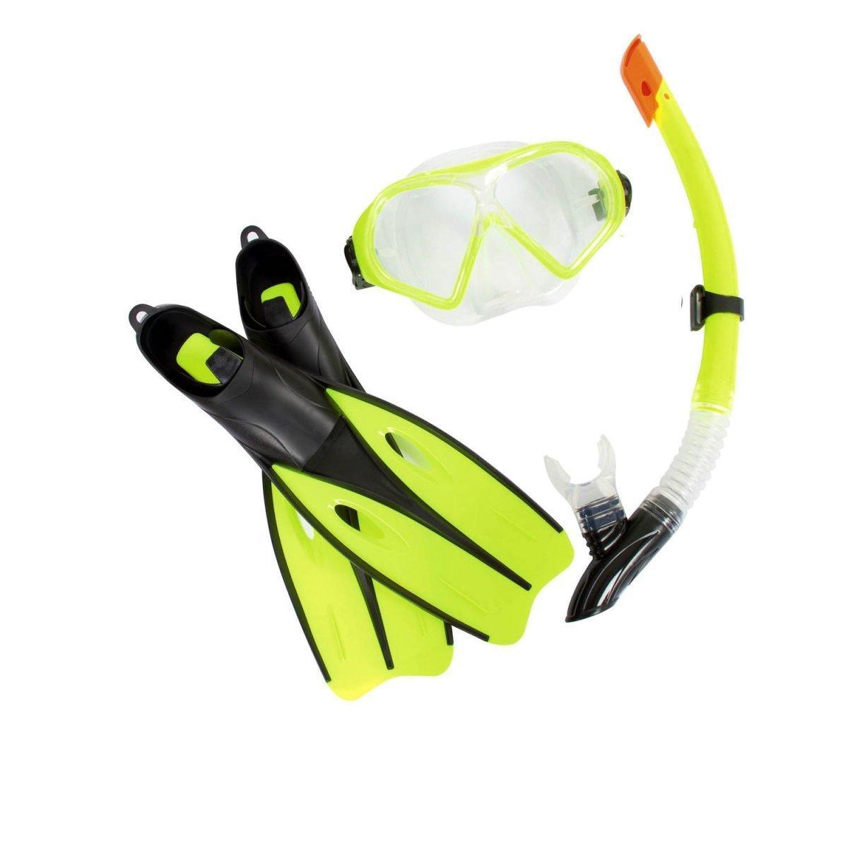 Набор 3 в 1 для плавания Bestway 25021 (маска: размер M, (6+), обхват головы ≈ 52 см, трубка, ласты: размер L, 37 (EU), под стопу ≈ 24 см), зеленый