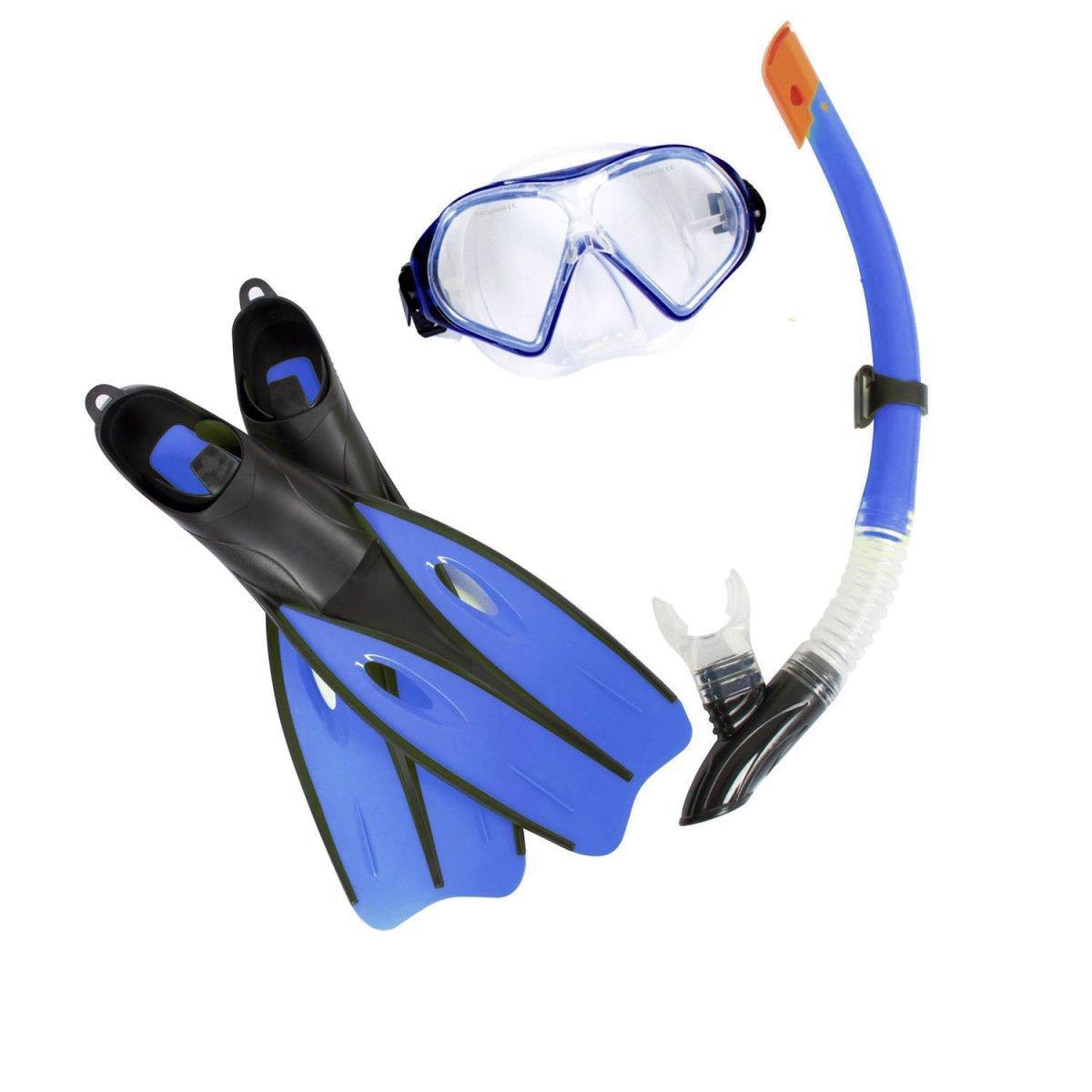 Набор 3 в 1 для плавания Bestway 25021 (маска: размер M, (6+), обхват головы ≈ 52 см, трубка, ласты: размер L, 37 (EU), под стопу ≈ 24 см), синий