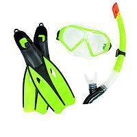 Набор 3 в 1 для плавания Bestway 25022 (маска: размер XL, (10+), обхват головы 56 см, трубка, ласты: XL, 40 (EU), под стопу 25 см), зеленый