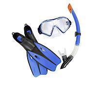 Набор 3 в 1 для плавания Bestway 25022 (маска: размер XL, (10+), обхват головы 56 см, трубка, ласты: XL, 40 (EU), под стопу 25 см), синий