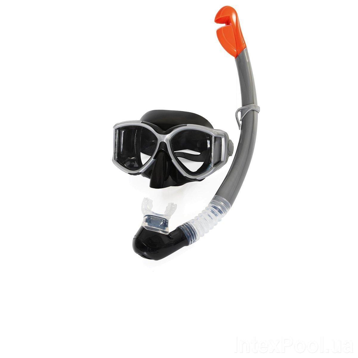 Набор для плавания Bestway 24050 (маска: размер XXL, (14+), обхват головы ≈ 59 см, трубка), черный