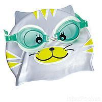 Набор 2 в 1 для плавания IntexPool 53070 (очки: размер S, (3+), обхват головы ≈ 50 см, шапочка 21 х 18 см), зеленый