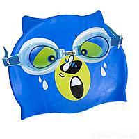 Набор 2 в 1 для плавания IntexPool 53072 (очки: размер S, (3+), обхват головы ≈ 50 см, шапочка 21 х 18 см), синий, фото 1