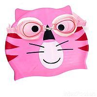 Набор 2 в 1 для плавания IntexPool 53073 (очки: размер S, (3+), обхват головы ≈ 50 см, шапочка 21 х 18 см), розовый