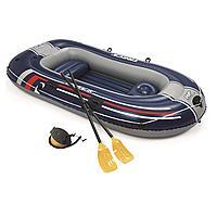 Двухместная надувная лодка Bestway 61068 Hydro - Force Raft, синяя, 255 х 127 х 41 см, с веслами и насосом