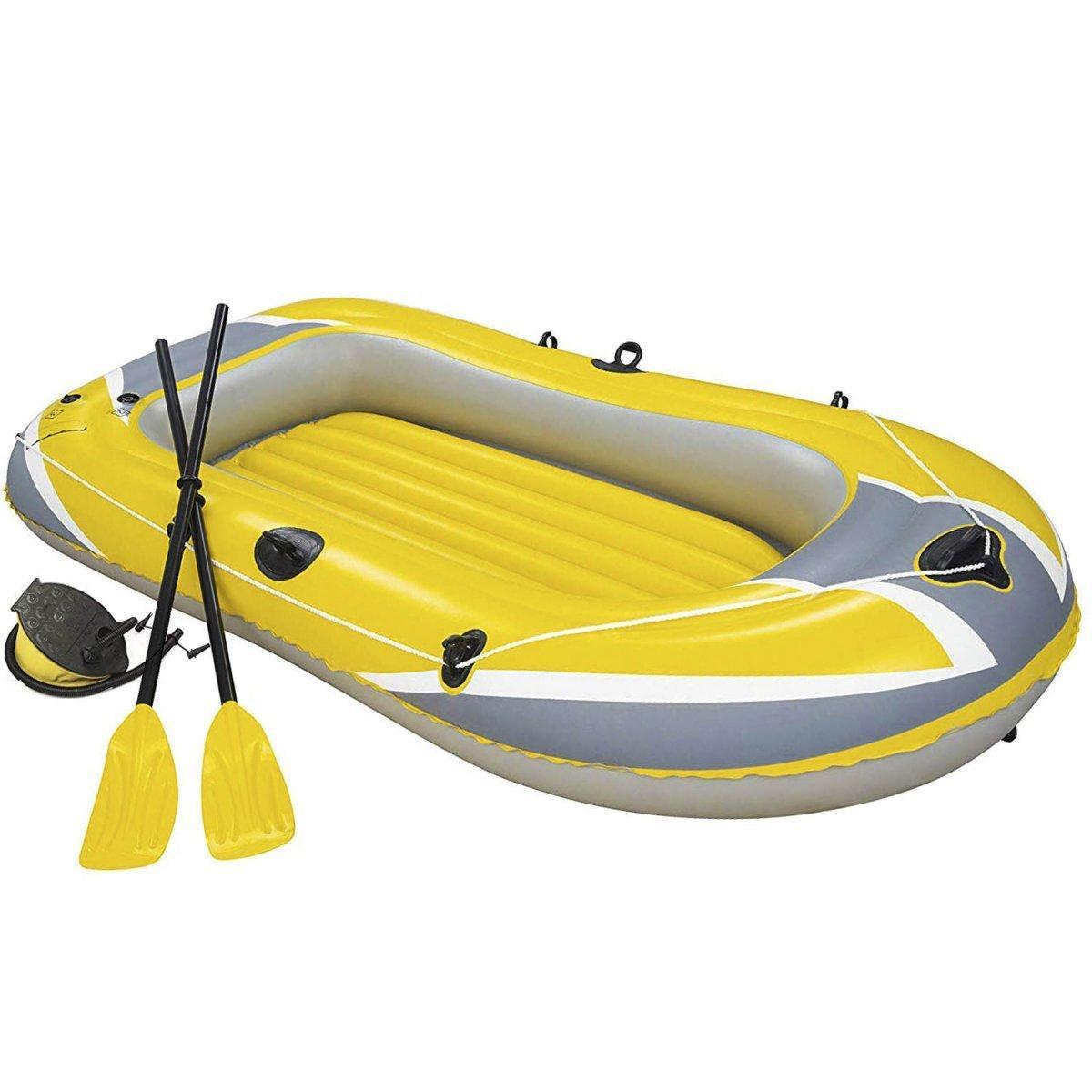 Полутораместная надувная лодка Bestway 61083 Hydro - Force Raft, желтая, 228 х 121 см, с веслами и насосом