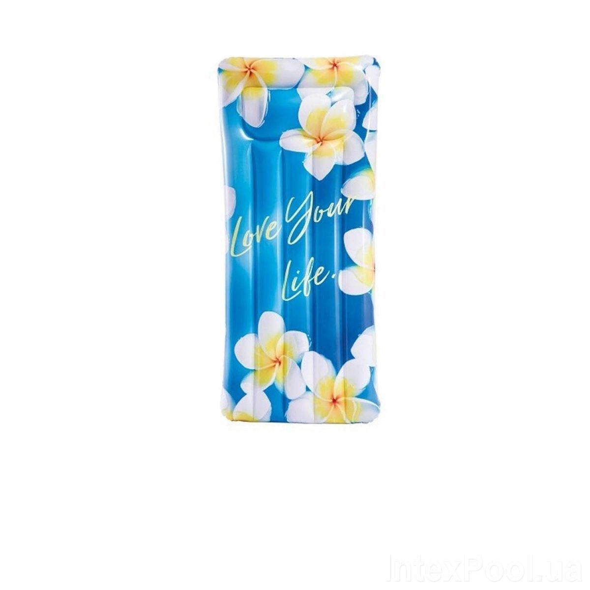 Пляжный надувной матрас с подголовником Intex 58772 Вдохновение, 178 х 84 см, цветы