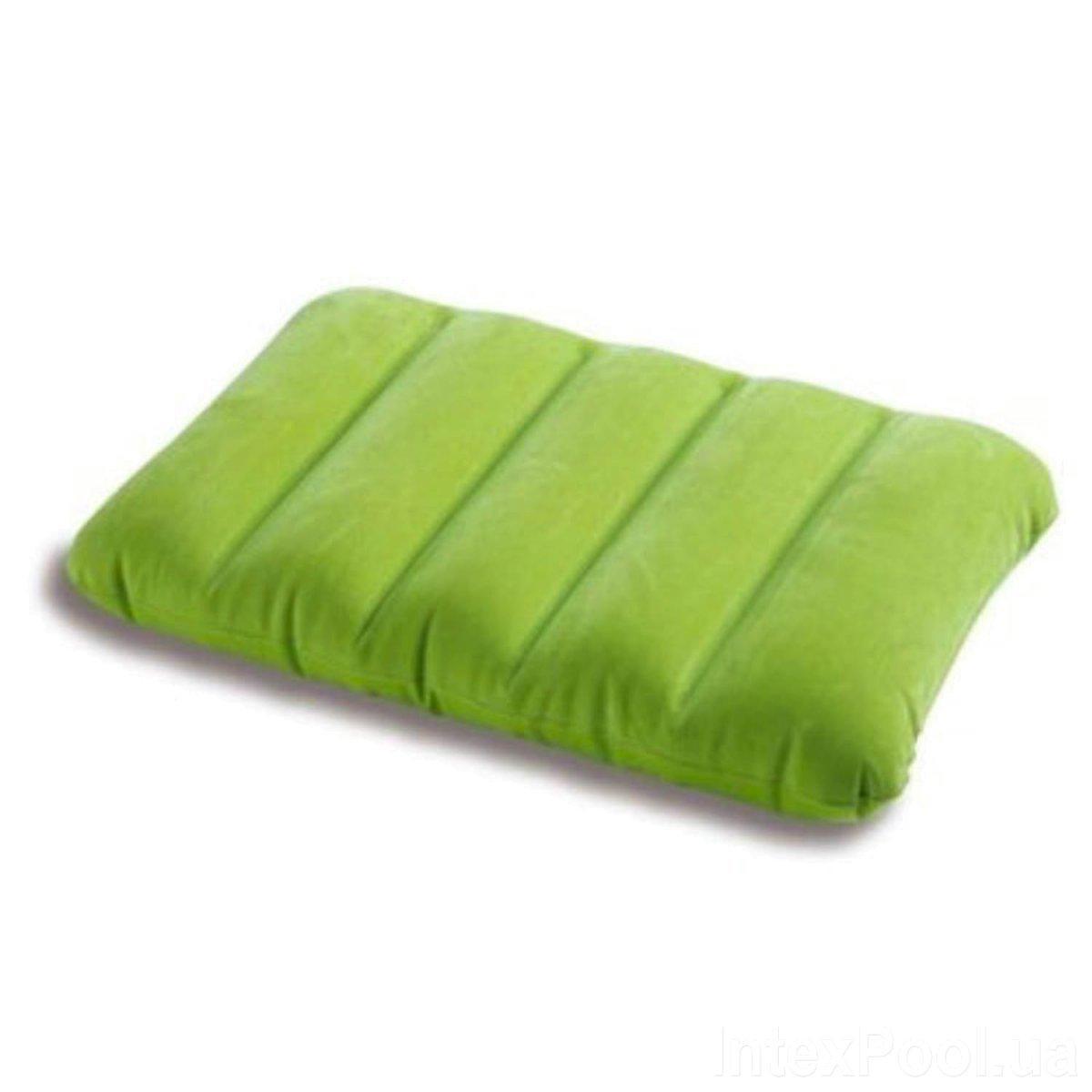Надувная флокированная подушка Intex 68676, зеленая