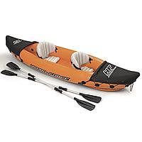 Двухместная надувная байдарка (каяк) Bestway 65077 Lite-Rapid X2 Kayak, 321 см x 88 см, с веслами, оранжевая