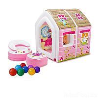 Надувной игровой домик Intex 48635-1 Princess Play House 124 х 109 х 122 см, с креслами и шариками 10 шт