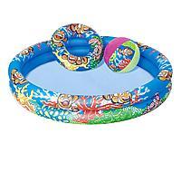 Детский надувной бассейн Bestway 51124 Рыбки 112 х 20 см, с мячиком и кругом