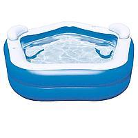 Детский надувной бассейн Bestway 54153 Геометрия 213 х 207 х 69 см, с сиденьями, подстаканниками и подголовниками