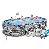 Каркасный бассейн Bestway  гидромассажем,  подстилка, лестница, гидромассаж, подсветка), фото 1
