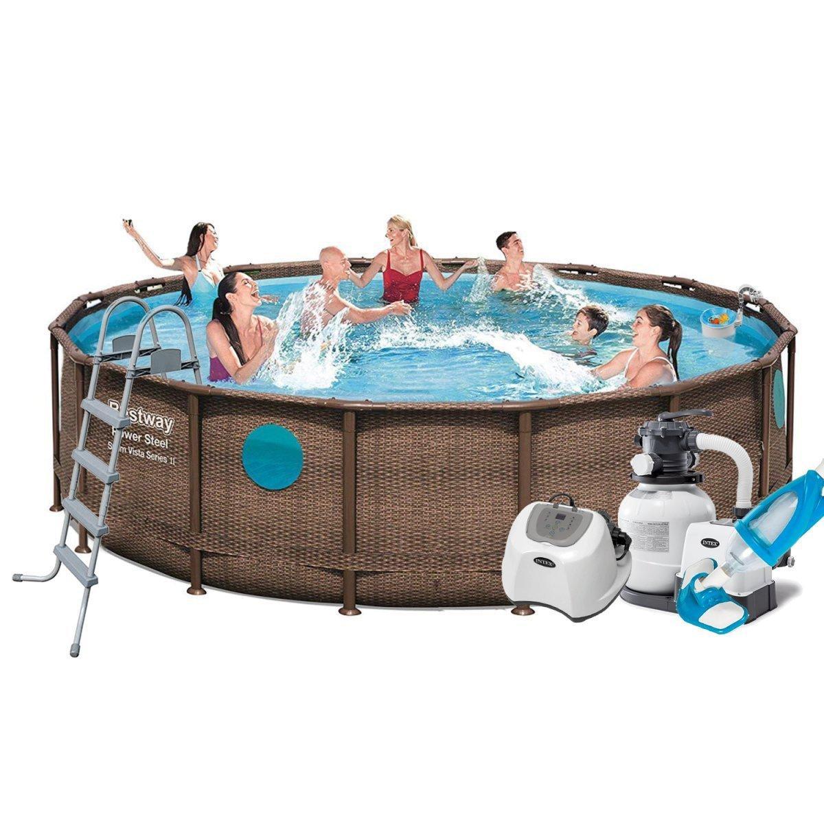 Каркасный бассейн Bestway 56725 - 11, 488 х 122 см (5 г/ч, 6 000 л/ч, дозатор, набор, лестница, тент, подстилка)