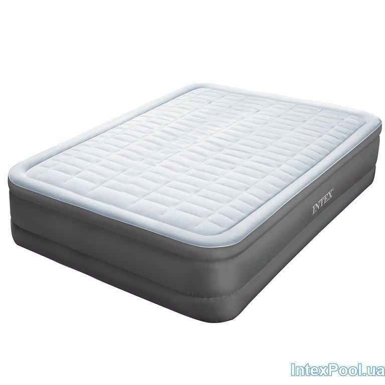 Надувная кровать Intex 64486, 152 х 203 х 46 см, встроенный электронасос. Двухспальная