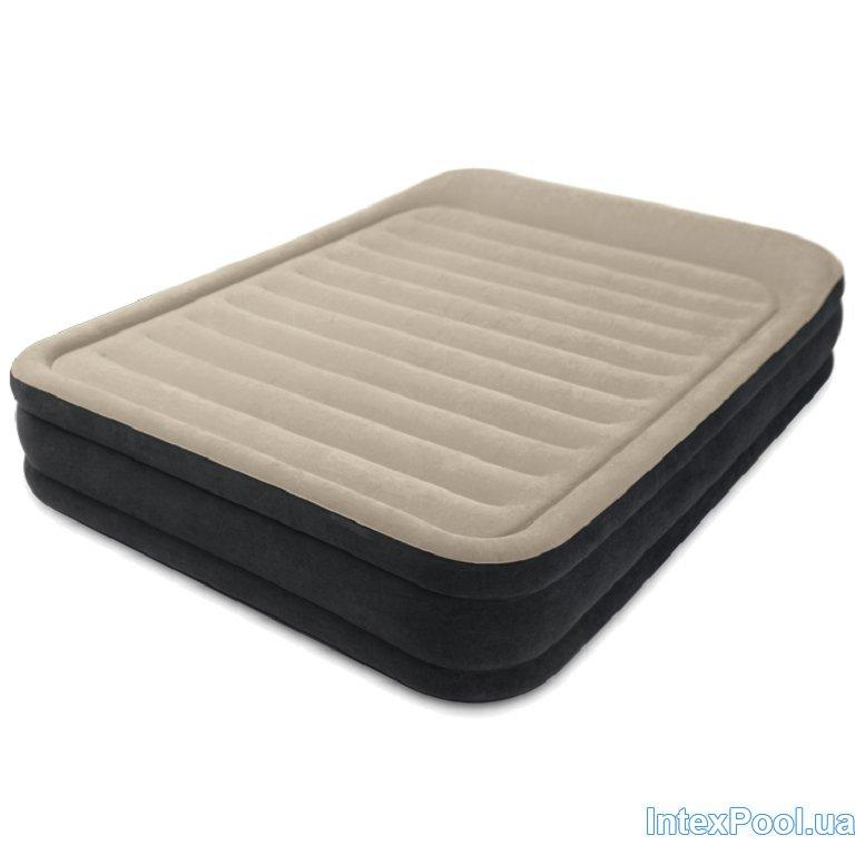 Архивный. Велюровая надувная кровать Intex 64404, бежевая, 152 х 203 х 33 см. Двухспальная