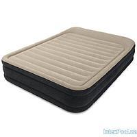 Архивный. Велюровая надувная кровать Intex 64404, бежевая, 152 х 203 х 33 см. Двухспальная, фото 1