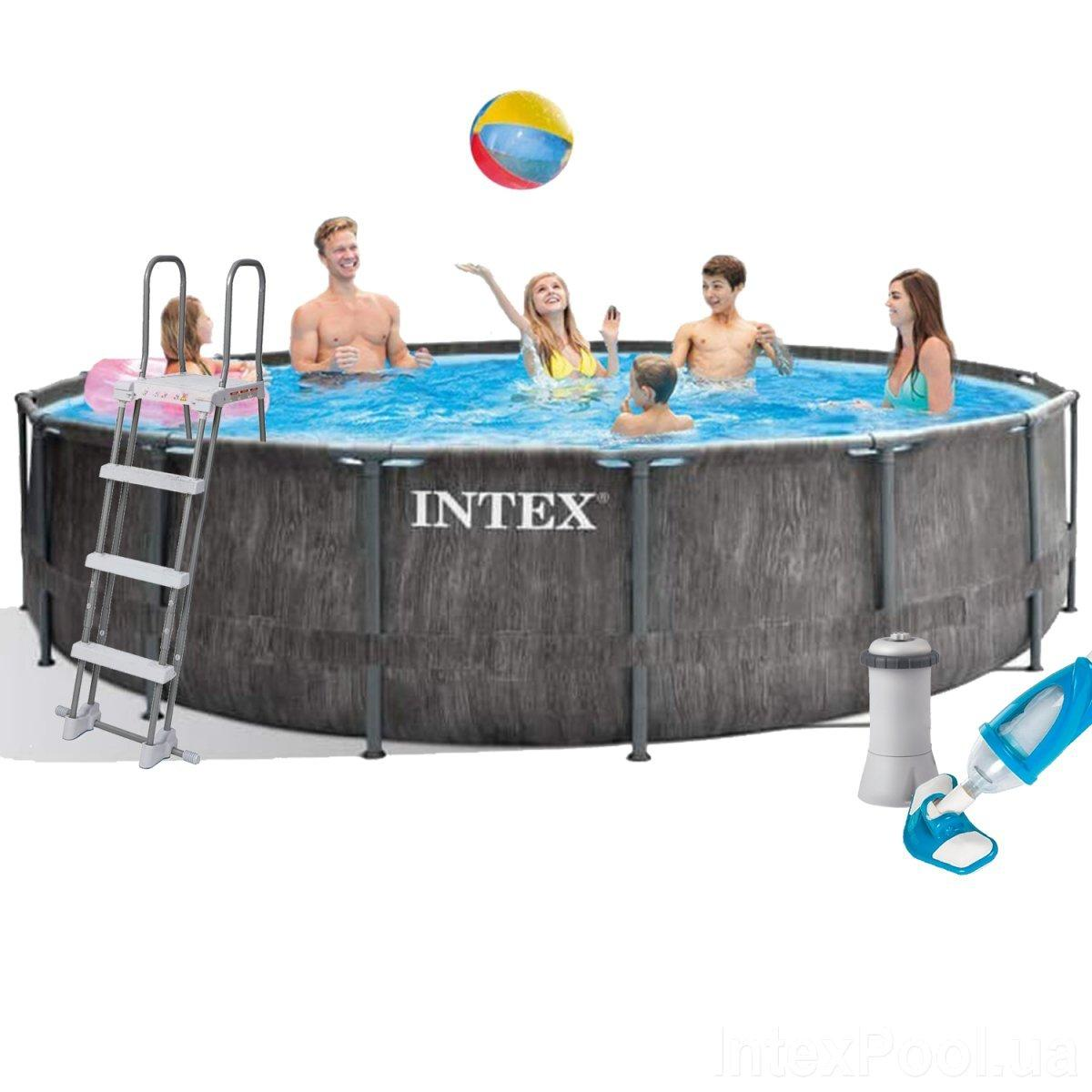 Каркасный бассейн Intex 26742 - 5, 457 x 122 см (3 785 л/ч, набор, лестница, тент, подстилка)