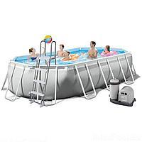 Каркасный бассейн Intex 26796, 503 x 274 x 122 см (5 678 л/ч, лестница, тент, подстилка)