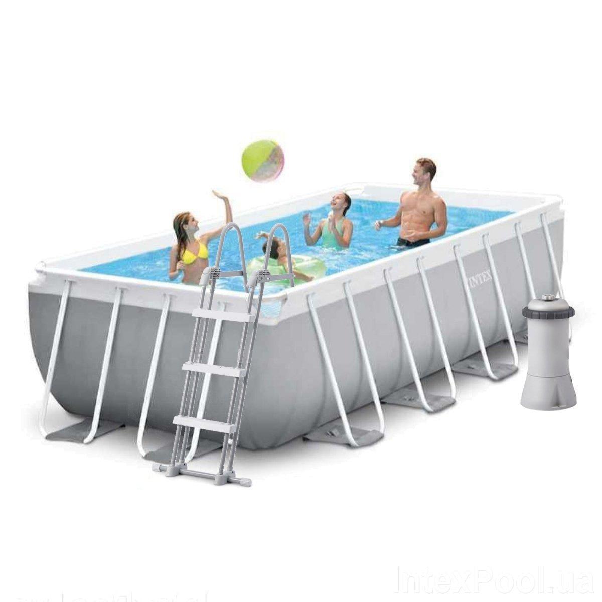 Каркасный бассейн Intex 26788-4, 400 x 200 x 100 см (2 006 л/ч, лестница, тент, подстилка)