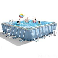 Каркасный бассейн Intex 28764, 427 x 427 x 107 см (3 785 л/ч, лестница, тент, подстилка)