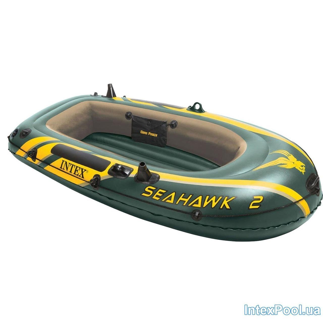 Двухместная надувная лодка Intex 68346 Seahawk 2, 236 х 114 х 41 см