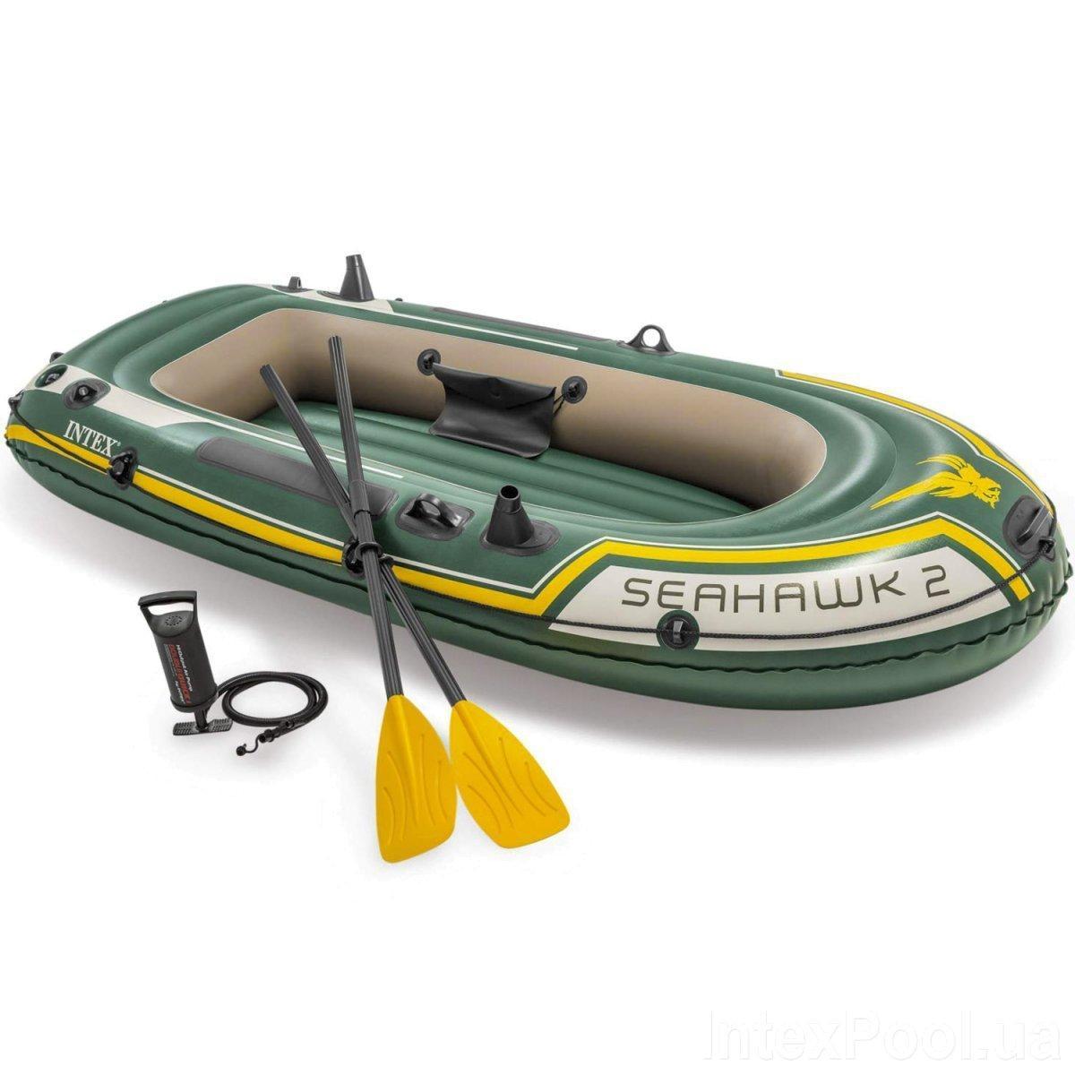 Двухместная надувная лодка Intex 68347 Seahawk 2 Set, 236 х 114 х 37 см, веслами и насосом