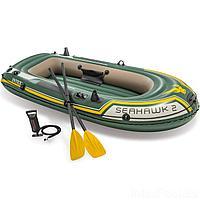Двухместная надувная лодка Intex 68347 Seahawk 2 Set, 236 х 114 х 37 см, веслами и насосом, фото 1