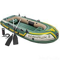 Трехместная надувная лодка Intex 68380 Seahawk 3 Set, 295 х 137 х 43 см, с веслами и насосом