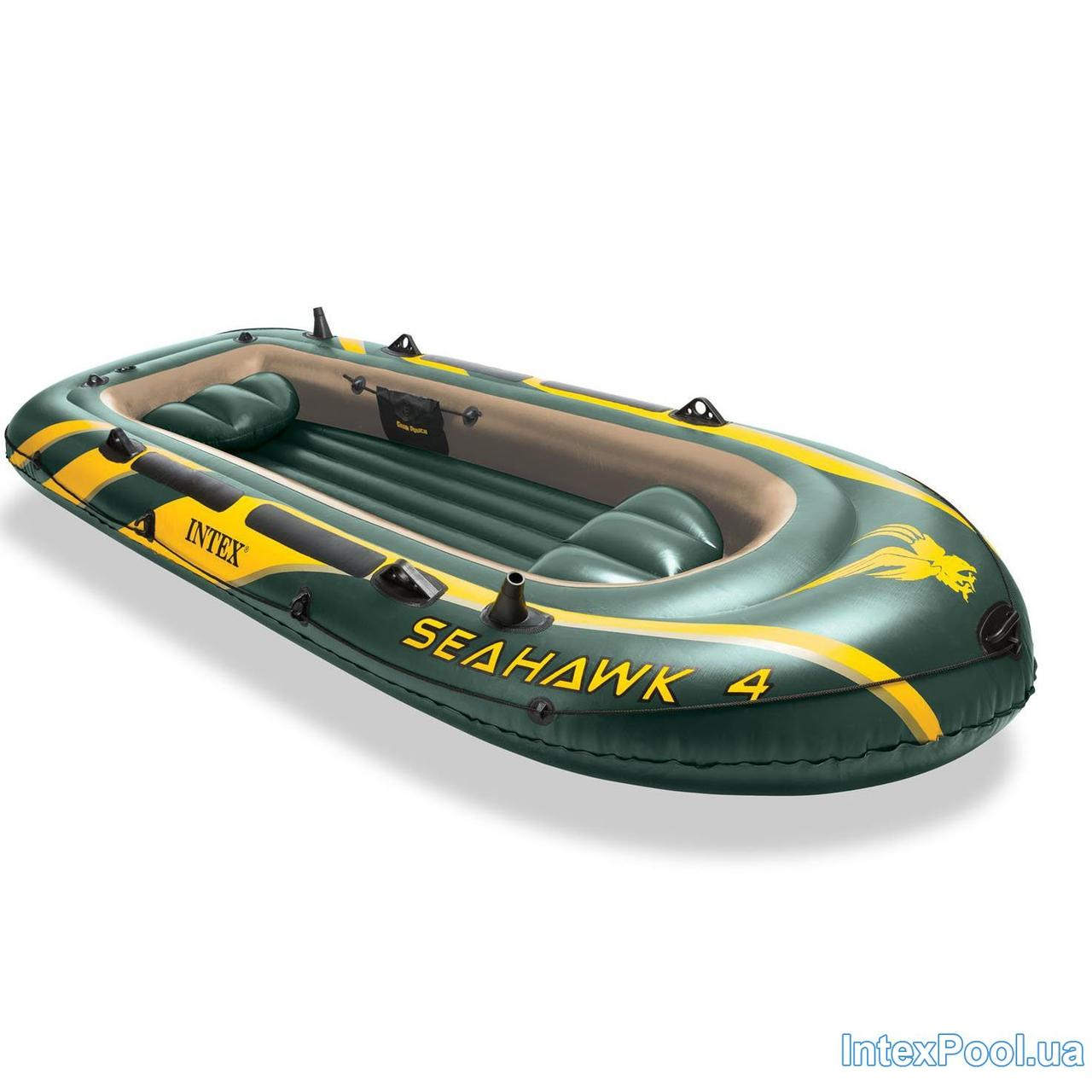 Четырехместная надувная лодка Intex 68350 Seahawk 4, 351 х 145 х 48 см