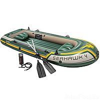 Четырехместная надувная лодка Intex 68351 Seahawk 4 Set, 351 х 145 х 48 см, с веслами и насосом, фото 1